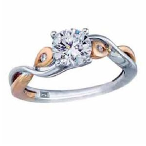 14K White and rose gold alternating twisted band engagement ring by Frederic Sage claw set in the centre with a 0.5ct round CZ and accented on the sides with 2 channel set round brilliant cut diamonds, 0.03cttw, G/H, VS-SI. Available in 14K gold, 18K gold, or platinum. This ring can be made in any combination of white, pink or yellow gold and can be customized to accommodate different size and shape diamonds, by special order. Priced without a center gemstone. Let us find you the perfect center that fits your tastes and budget!