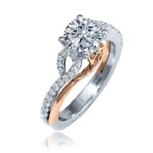 14K White gold engagement ring with a rose gold accents by Frederic Sage set with a 0.75ct round CZ and claw set on the band with 34 round brilliant cut diamonds, 0.27cttw. Available in 14K gold, 18K gold, or platinum. This ring can be made in any combination of white, pink or yellow gold and can be customized to accommodate different size and shape diamonds, by special order. Priced without a center gemstone. Let us find you the perfect center that fits your tastes and budget!