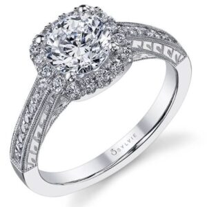Giulia vintage inspired cushion shaped halo engagement ring by Sylvie Collection featuring 0.30ctw G/H, VS-SI round brilliant cut diamonds