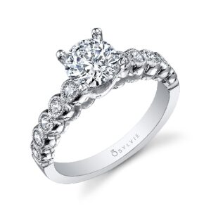 Unique engagement ring by Sylvie Collection featuring 0.41ctw G/H, VS-SI round brilliant cut diamonds.