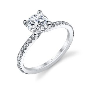 Adorlee solitaire engagement ring by Sylvie Collection featuring 0.21ctw G/H, VS-SI round brilliant cut diamonds which go halfway down the band