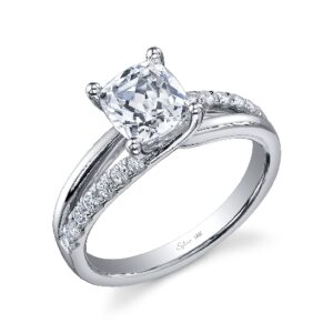 Brighton modern cushion cut split shank engagement ring by Sylvie Collection featuring 0.23ctw G/H, VS-SI round brilliant cut diamonds.
