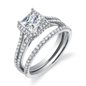 Princess cut split shank halo engagement ring by Sylvie Collection featuring 0.46ctw G/H, VS-SI round brilliant cut diamonds.