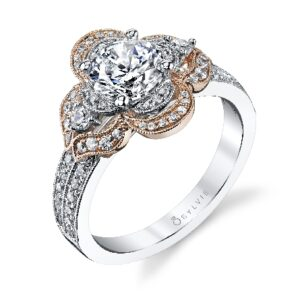 Floressa - flower inspired halo engagement ring by Sylvie Collection featuring 0.49ctw G/H, VS-SI round brilliant cut diamonds.
