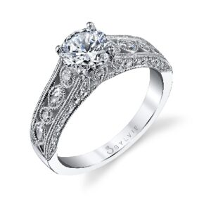 Alyssa engagement ring by Sylvie Collection featuring 0.63ctw G/H, VS-SI round brilliant cut diamonds.