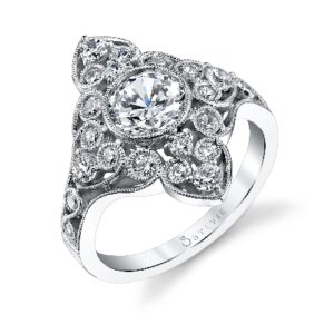 Joella vintage bezel set engagement ring by Sylvie Collection featuring 0.64ctw G/H, VS-SI round brilliant cut diamonds.