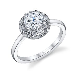Aimee double halo engagement ring by Sylvie Collection featuring 0.30ctw G/H, VS-SI round brilliant cut diamonds.
