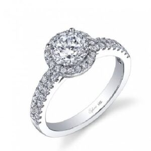 Gwendoline classic halo engagement ring by Sylvie Collection featuring 0.36ctw G/H, VS-SI round brilliant cut diamonds.