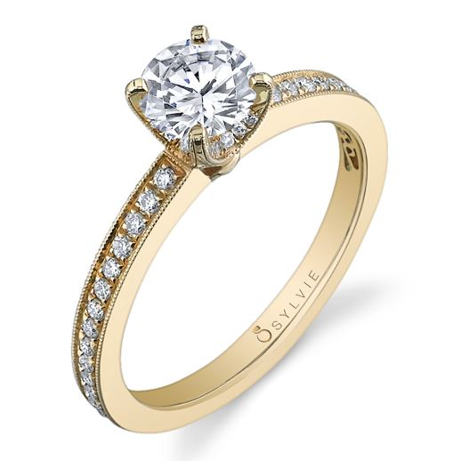 Paulette solitaire engagement ring by Sylvie Collection featuring 0.27ctw G/H, VS-SI round brilliant cut diamonds.
