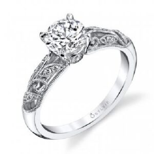 Roial vintage inspired engagement ring by Sylvie Collection featuring 0.12ctw G/H, VS-SI round brilliant cut diamonds.