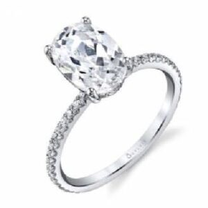 Maryam oval cut solitaire engagement ring by Sylvie Collection featuring 0.37ctw G/H, VS-SI round brilliant cut diamonds.