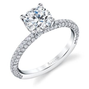 Jayla solitaire engagement ring by Sylvie Collection featuring 0.61ctw G/H, VS-SI round brilliant cut diamonds which go halfway down the band.