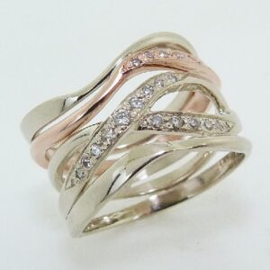 lady's 14K White and Rose Gold Intertwined Diamond Ring