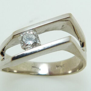 14K White gold lady's right hand fashion ring channel set with a 0.252 carat Dream cut Hearts on Fire diamond, G, VS2.