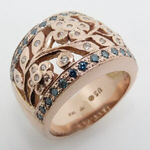 lady's 14K rose gold flower design pave set white and blue diamonds