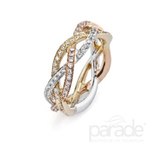 18K gold braided eternity band in white, yellow and rose gold by Parade Design pave set halfway around with 68 round brilliant cut diamonds, 0.39cttw, G/H, SI.
