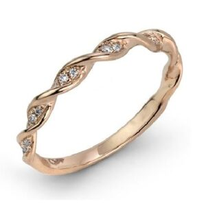 14 karat rose gold band set with 0.10ctw round brilliant cut diamonds. This stunning diamond twist design looks great on it's own or as part of a stack.