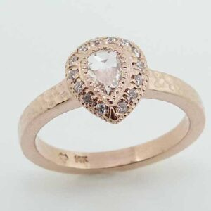 lady's 14KRose Pear Shaped Halo Diamond Ring