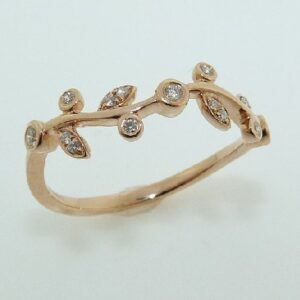 lady's 14K Rose Gold Leaves Design Pave Set Diamonds Band