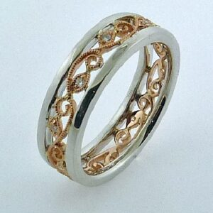 Lyria Leaves Band by Parade White And Rose Gold with No Diamond Borders
