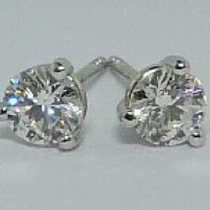 3-Prong 14K White Gold Diamond Stud Earrings