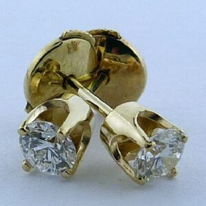 3-Prong 14K Yellow Gold Diamond Stud Earrings
