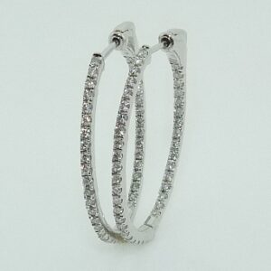 0.530cttw 14K White Gold Diamond Hoop Earrings