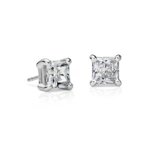 14K White Gold Princess Cut Firemark Diamond Stud Earrings