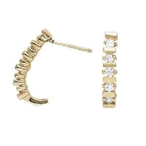 0.35cttw 14K Rose Gold Diamond J-Hoop Earrings