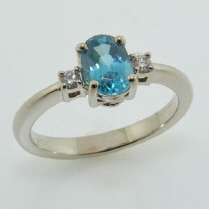 Blue Zircon 3 Stone Ring