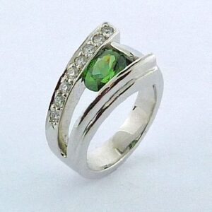 1.42ct 14K White Gold Oval Shaped Green Zircon Custom Ring