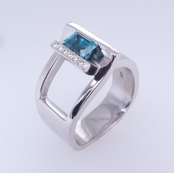 1.435ct 14K White Gold Emerald Cut Blue Zircon Custom Ring
