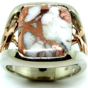 14 karat rose and white gold ring featuring quarts and copper. This stunning ring is a custom design by David.