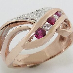 14K Rose And White Gold Ruby And Diamond Custom Ring