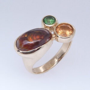 14K Yellow Gold Garnet And Fire Agate Three Stone Custom Ring