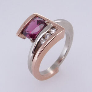 14K Two-Tone White And Rose Gold Antique Cushion Cut Rhodolite Garnet Custom Ring