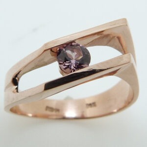 14K Rose Gold Round Brilliant Cut Lotus Garnet Custom Ring
