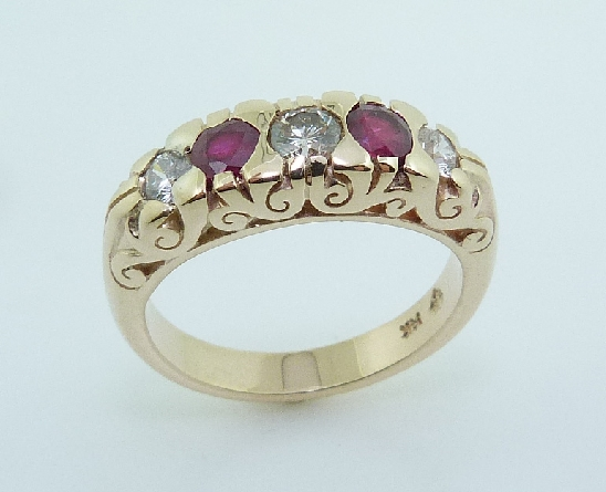 14K Yellow Gold Ruby And Diamond Fashion Ring