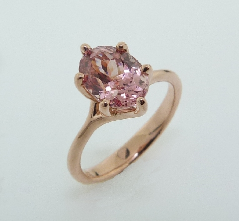 2.91ct 14K Rose Gold Oval Shaped Lotus Garnet Solitaire Ring