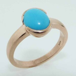 14 karat rose gold ring featuring a 1.27ctw Turquoise. This stunning ring is a custom Design by David.