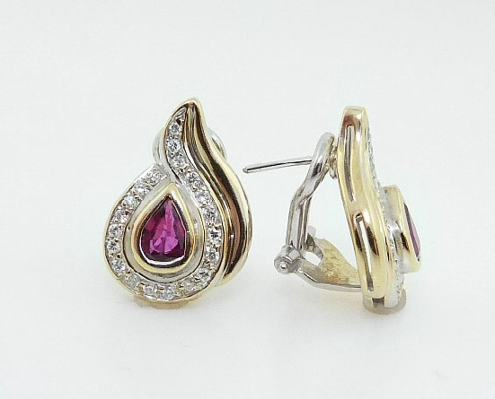18K Yellow And White Gold Pear Shaped Ruby And Diamond Earrings