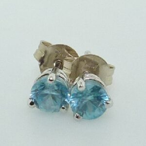 0.75cttw 14K White Gold Round Brilliant Cut Blue Zircon Stud Earrings