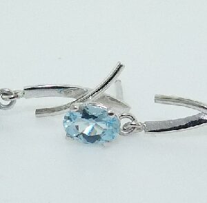 14K white gold drop earrings claw set with 2 oval aquamarines, 0.72cttw.