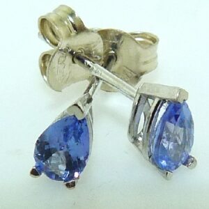 0.40cttw Tanzanite 3 Prong Pear Shaped 14K White Gold Stud Earrings
