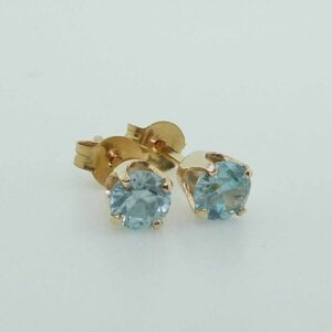 1.02cttw 14K Yellow Gold Round Brilliant Cut Blue Zircon Stud Earrings