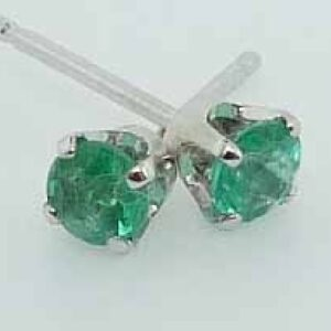 14 karat white gold 4 prong stud earrings set with 0.11ctw of emeralds.