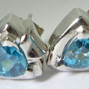 2.63cttw 14K White Gold Trillion shaped Blue Zircon Stud Earrings