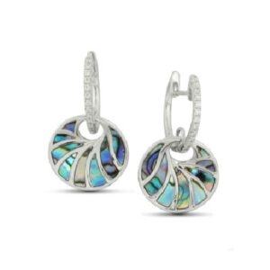 14 karat white drop earrings featuring 26 = 0.16ctw of round brilliant cut diamonds and accented with beautiful abalone