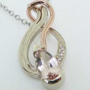 14K White And Rose Gold Morganite Custom Pendant