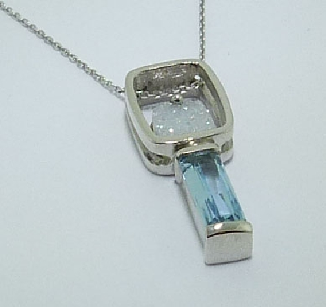 14K white gold pendant semi-bezel set with a 1.127ct fancy cut aquamarine and a silicon dioxide treated druzy agate.